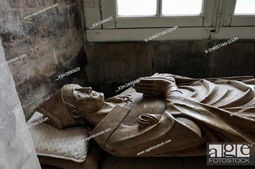 Stock Photo: recumbent effigy of Geoffroy Fae (XIVe) inside of the church Benedictine Abbey of Our Lady of Bec, Bec-Hellouin, labelled Les Plus Beaux Villages de France.