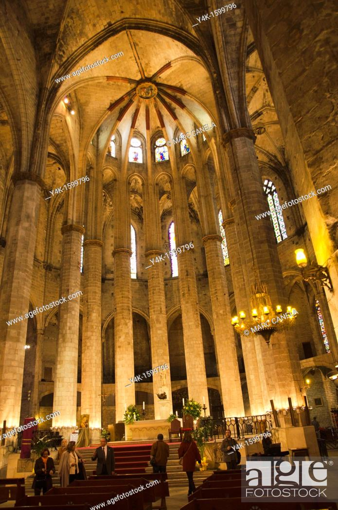 Stock Photo: Interior of Santa Maria del Mar church, Barcelona, Catalonia, Spain.
