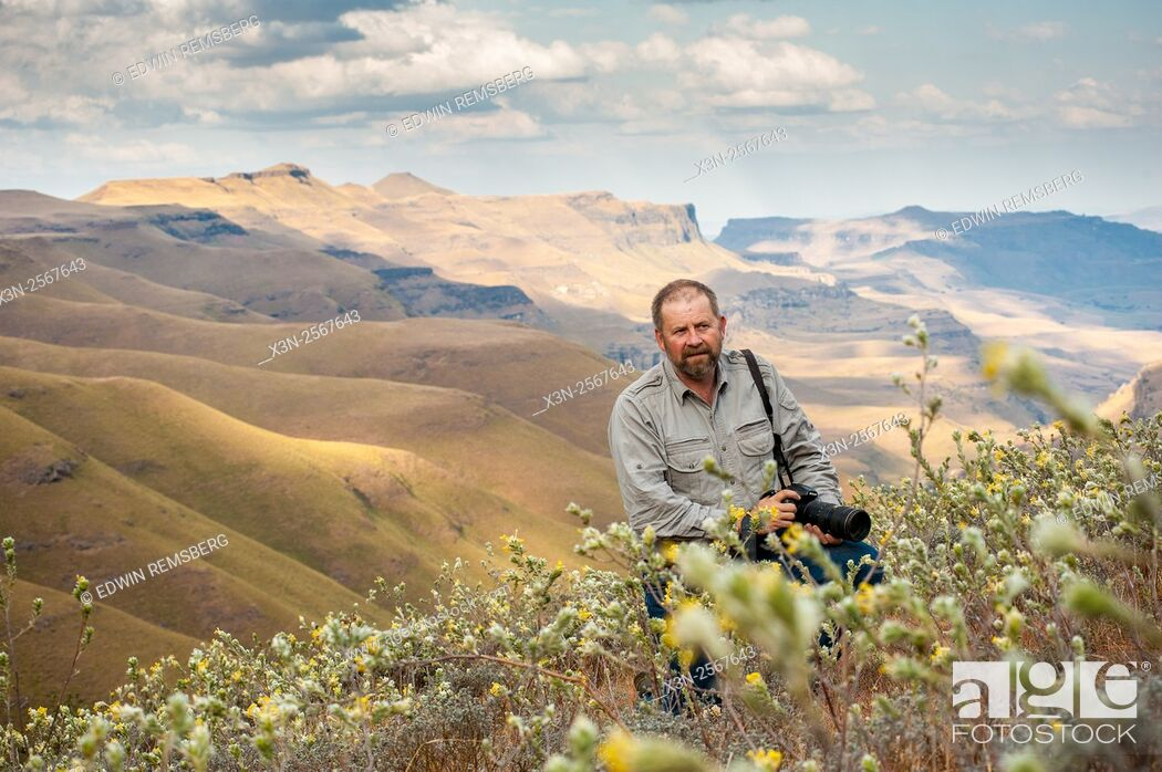 Stock Photo: Man with a camera standing amongst the wildflowers with rolling hills in the background in Sani Pass, between South Africa and Lesotho.