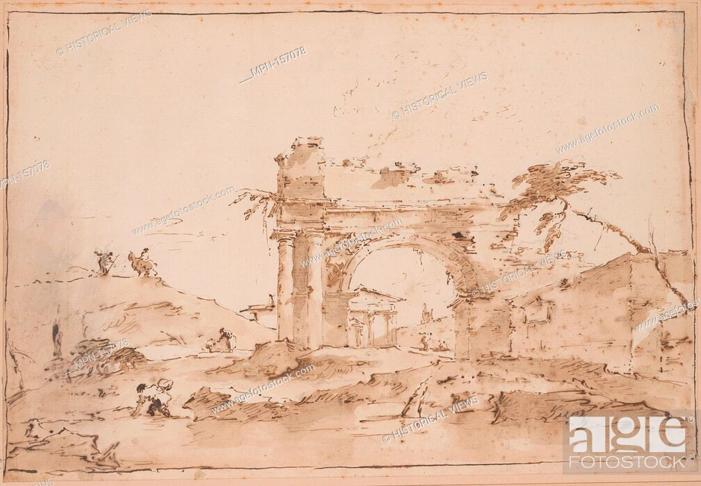 Stock Photo: Capriccio with Roman Ruins. Artist: Francesco Guardi (Italian, Venice 1712-1793 Venice); Date: 18th century; Medium: Pen and brown ink, brush and brown wash.