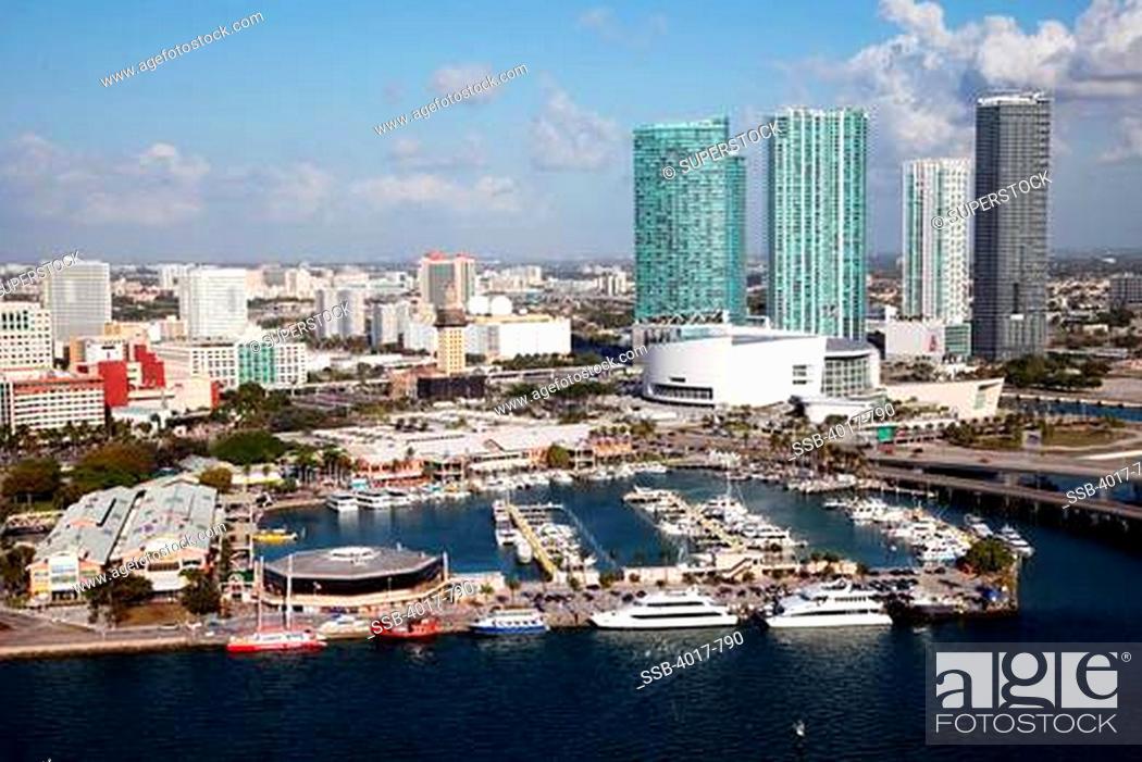 Stock Photo: Aerial of Bayside Marketplace, Miami.