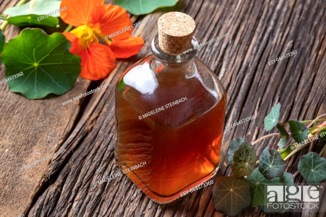 Stock Photo: A bottle of nasturtium tincture with fresh Tropaeolum majus leaves and flowers.