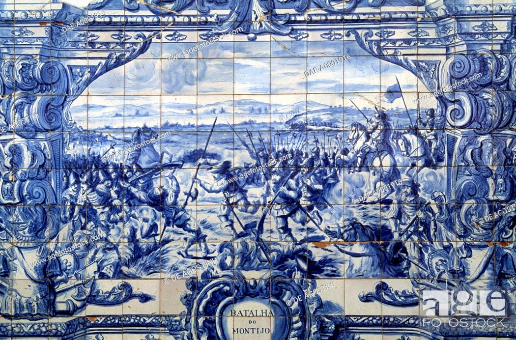 The Battle of Montijo (26 May, 1644), azulejo decorations in Patio ...