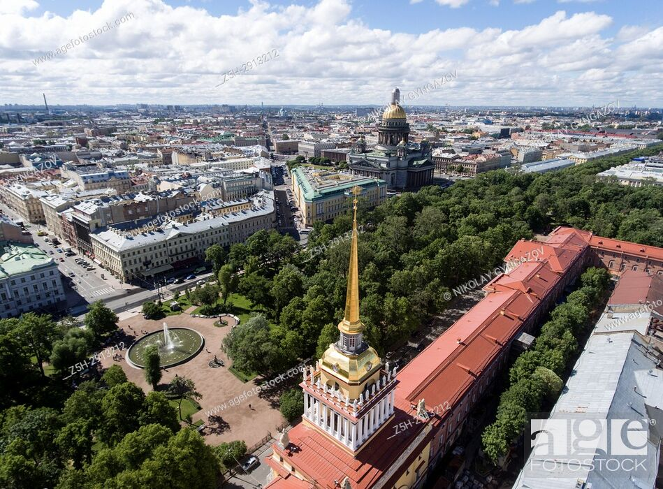 "Stock Photo: Architectural and historical monument """"Admiralty headquarters"""" from a bird's eye view. Saint Petersburg. Russia."
