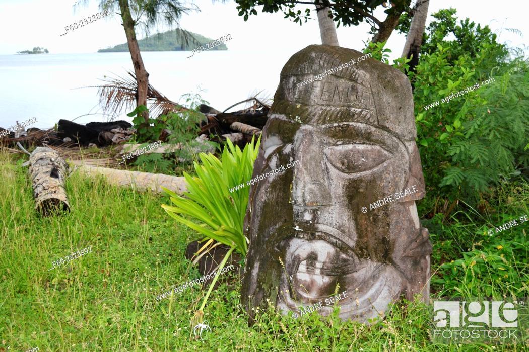 Stock Photo: Traditional head sculpture or totem in the coast of Matautu, Wallis Island, Wallis and Futuna, Melanesia, South Pacific.