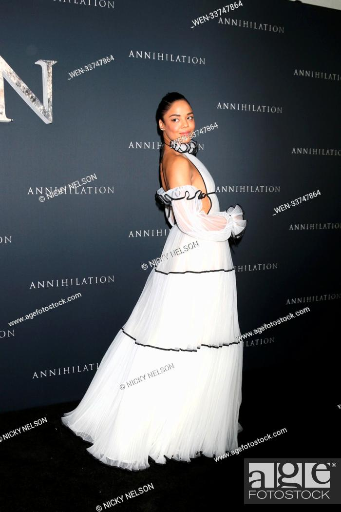 """Stock Photo: """"""""""""Annihilation"""""""" Los Angeles Premiere at Village Theater on February 13, 2018 in Westwood, CA Featuring: Tessa Thompson- Where: Westwood, California."""