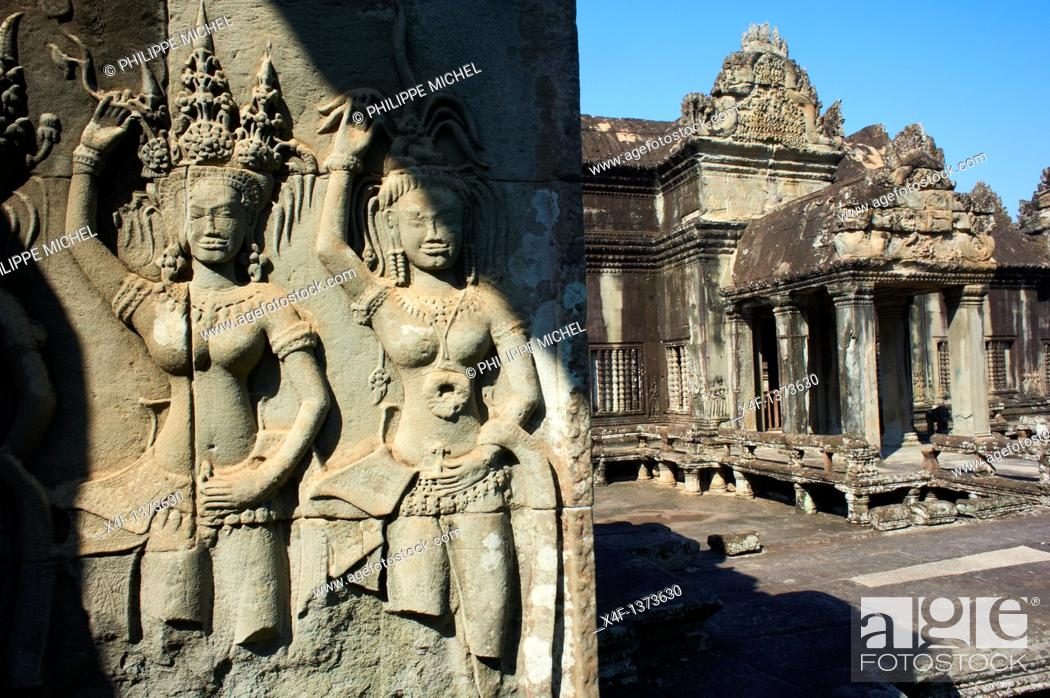 Stock Photo: Southeast Asia, Cambodia, Siem Reap Province, Angkor site, Unseco world heritage of UNESCO since 1992, Angkor Wat temple, XII th century.