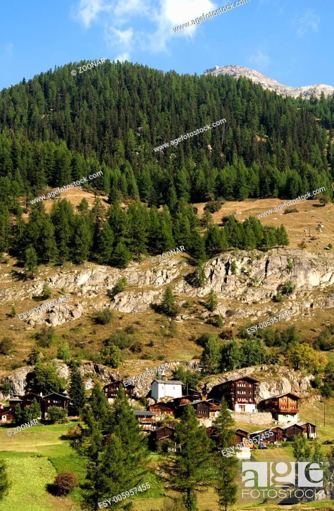 Stock Photo: Hamlet Eisten near Blatten, Loetschental, Valais,.