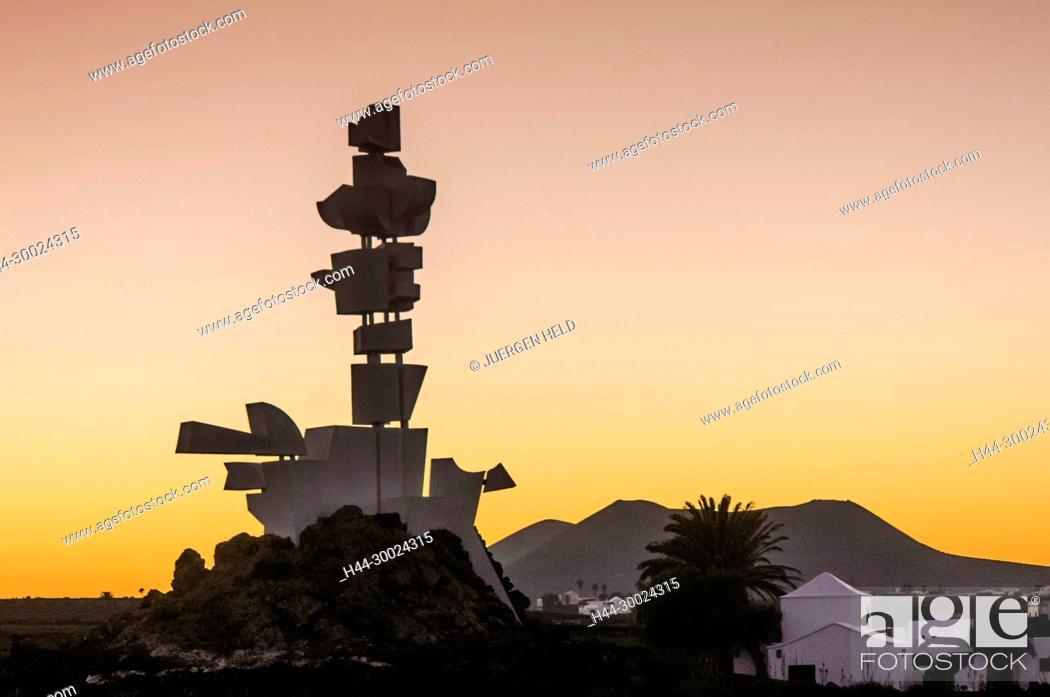 Stock Photo: Monumento Al Campesino, sunset, Mozaga, Lanzarote, Canary Islands, Spain.