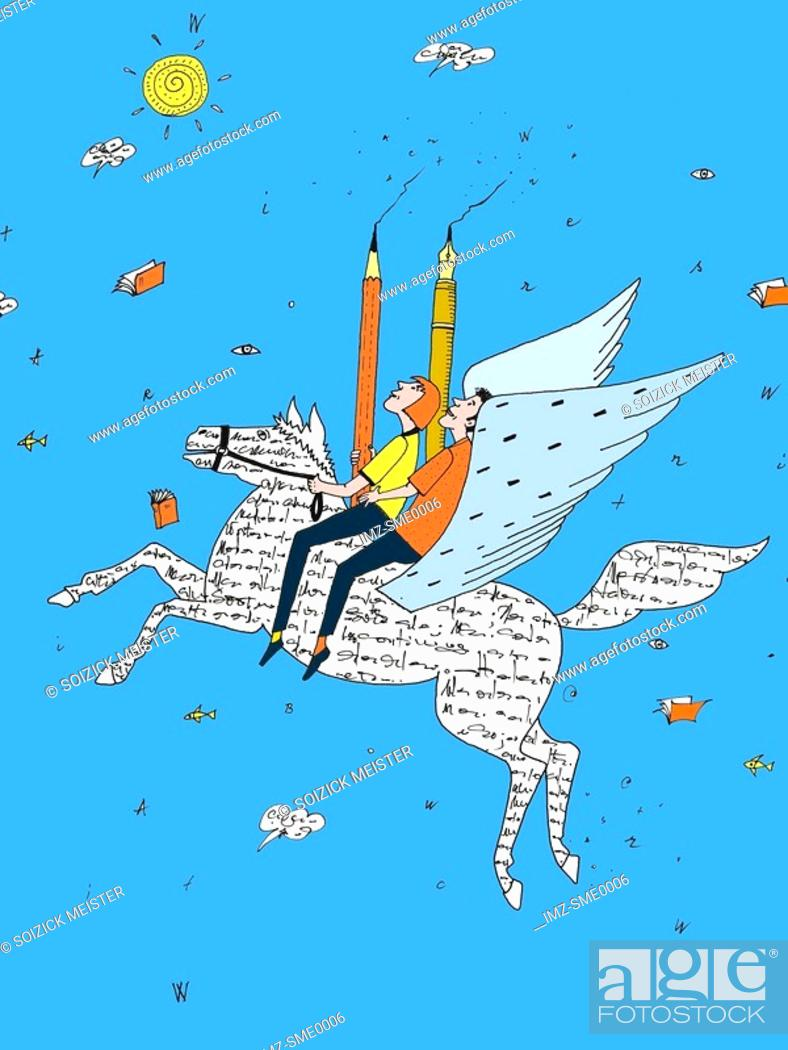 Stock Photo: Two people holding pencils and riding a winged horse made of words.