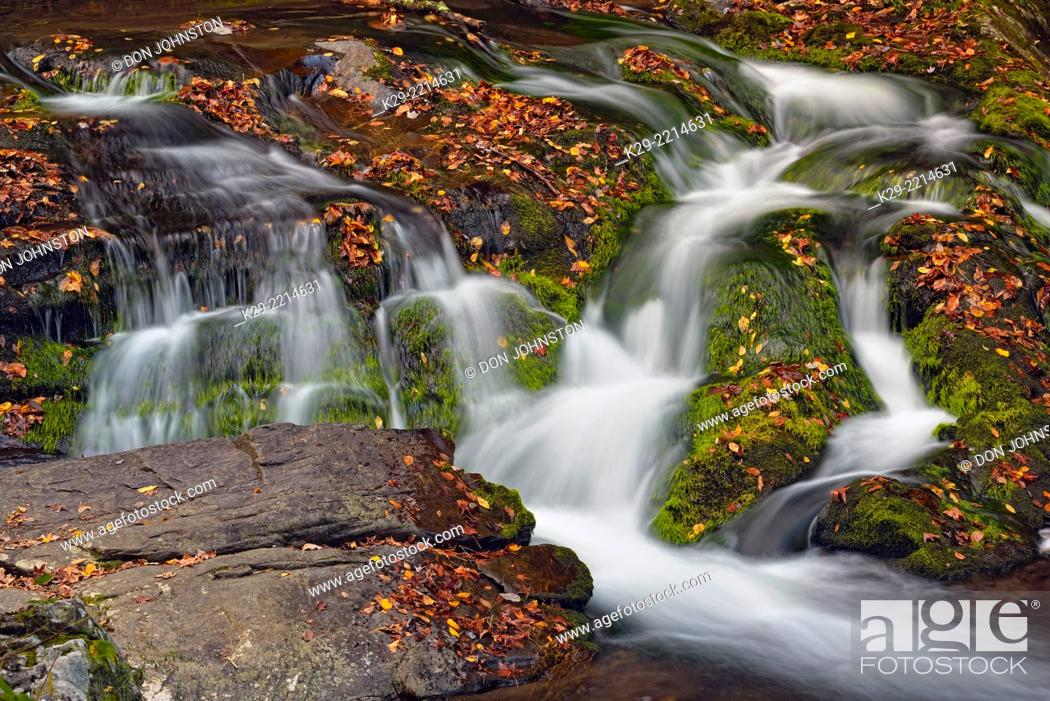 Stock Photo: Waterfall (Laurel Creek Falls) on the Laurel Creek Road, Great Smoky Mountains NP, Tennessee, USA.