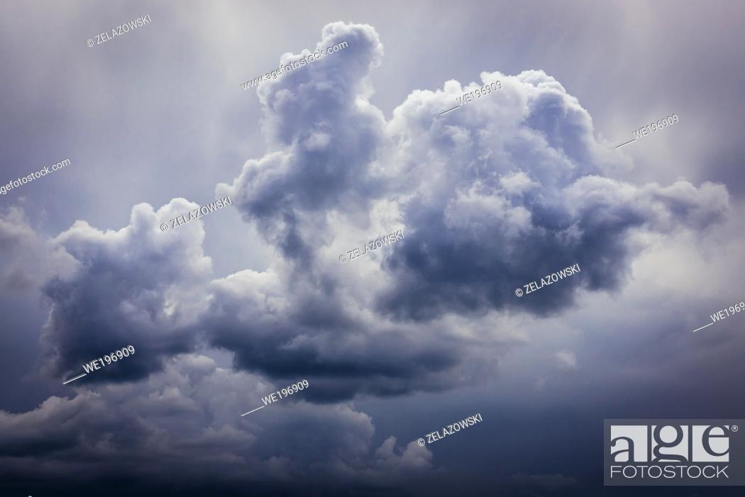 Stock Photo: Cloudscape above Western Bieszczady Mountains in Poland, view from Wetlina High Mountain Pasture.