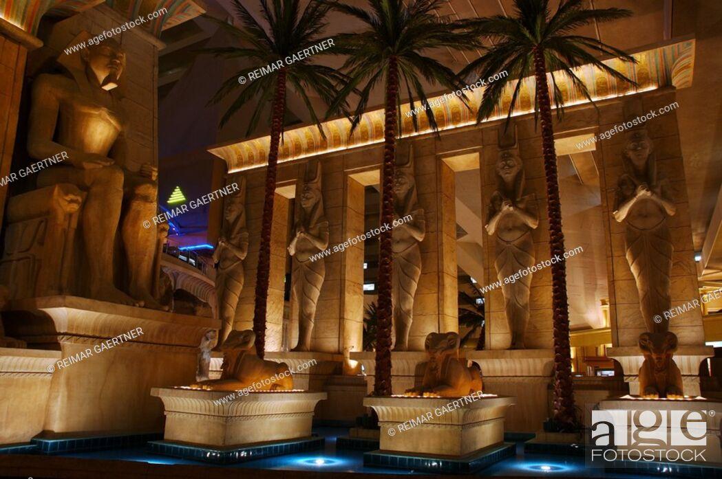 Stock Photo Indoor Egyptian Fountain At The Luxor Las Vegas