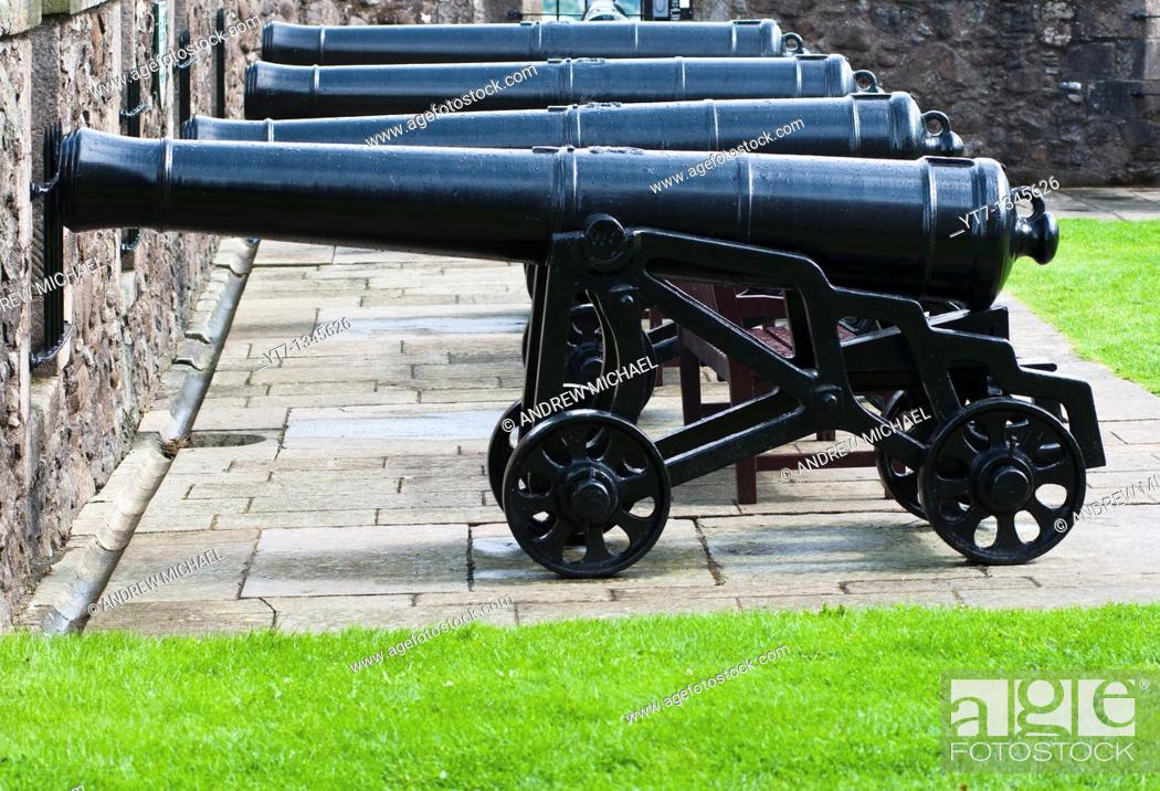 Stock Photo: Stirling castle cannons, Scotland.