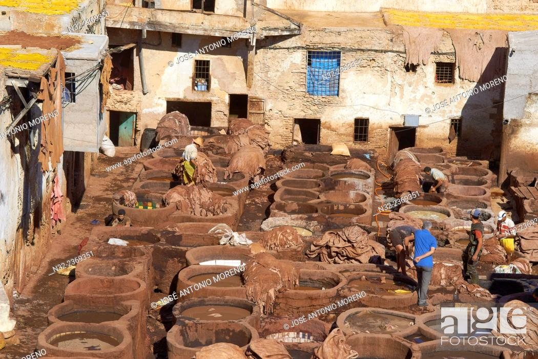 Stock Photo: Fez, Fes, Traditional Tanneries with dying vats, The Chouwara, Chouara, Tannery, Old Town, Medina, UNESCO World Heritage Site, Fez el Bali, Morocco, Maghreb.