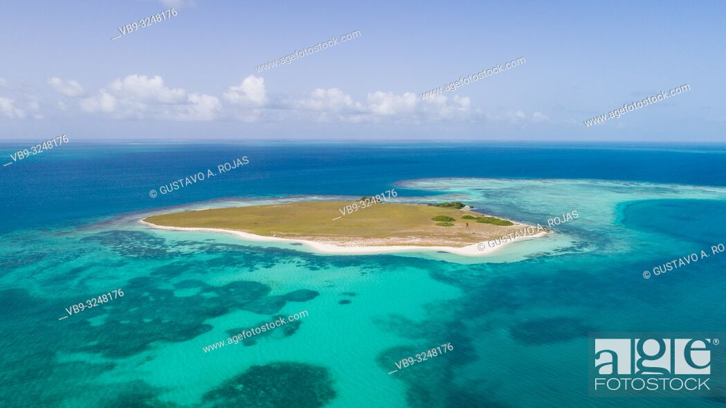 Stock Photo: DOS MOSQUICES Aerial View Archipelago Los Roques Venezuela, Atoll.