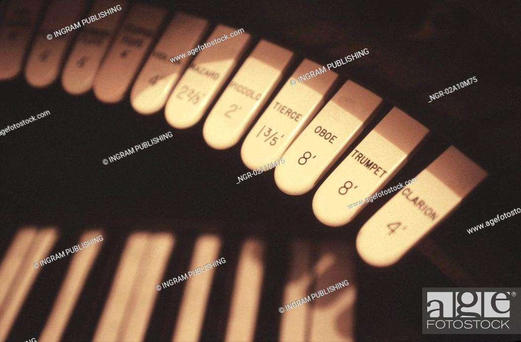Stock Photo: Organ Keys.