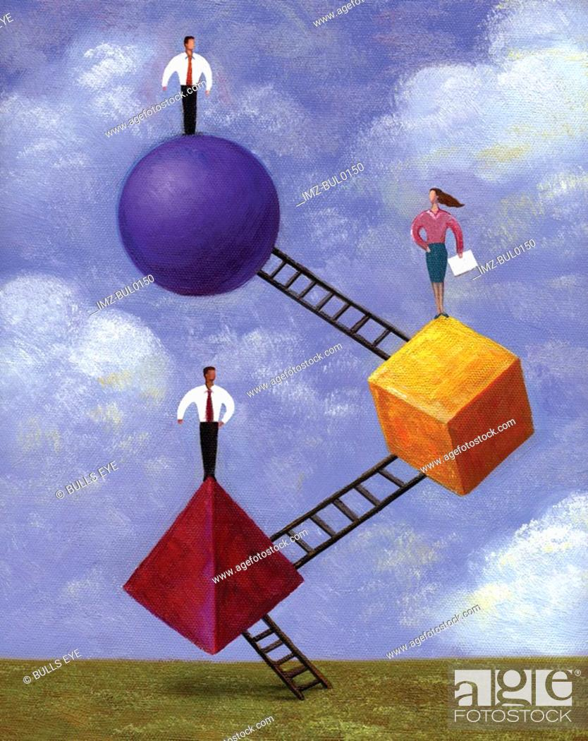 Stock Photo: An illustration of three people standing on shapes connected to ladders.