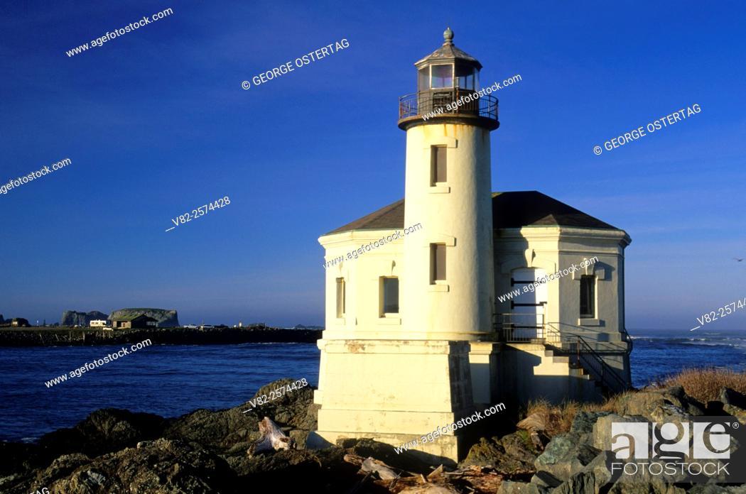 Stock Photo Coquille River Lighthouse Bullards Beach State Park Oregon