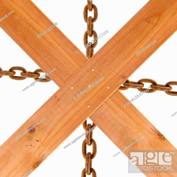 Photo de stock: crossed wooden planks and rusty chain.