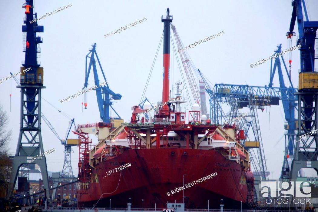 Stock Photo: A shipyard at Hamburg.