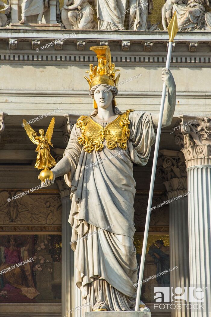 Stock Photo: Pallas Athena statue at the Parliament Building, Vienna, Austria.