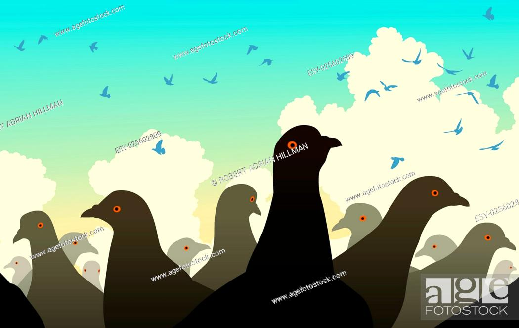 Vector: Editable vector illustration of pigeons watching other birds flying.