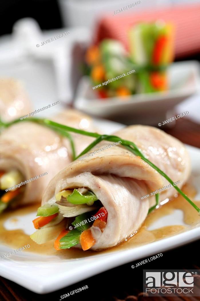 Stock Photo: Turkey rolls stuffed with vegetables.