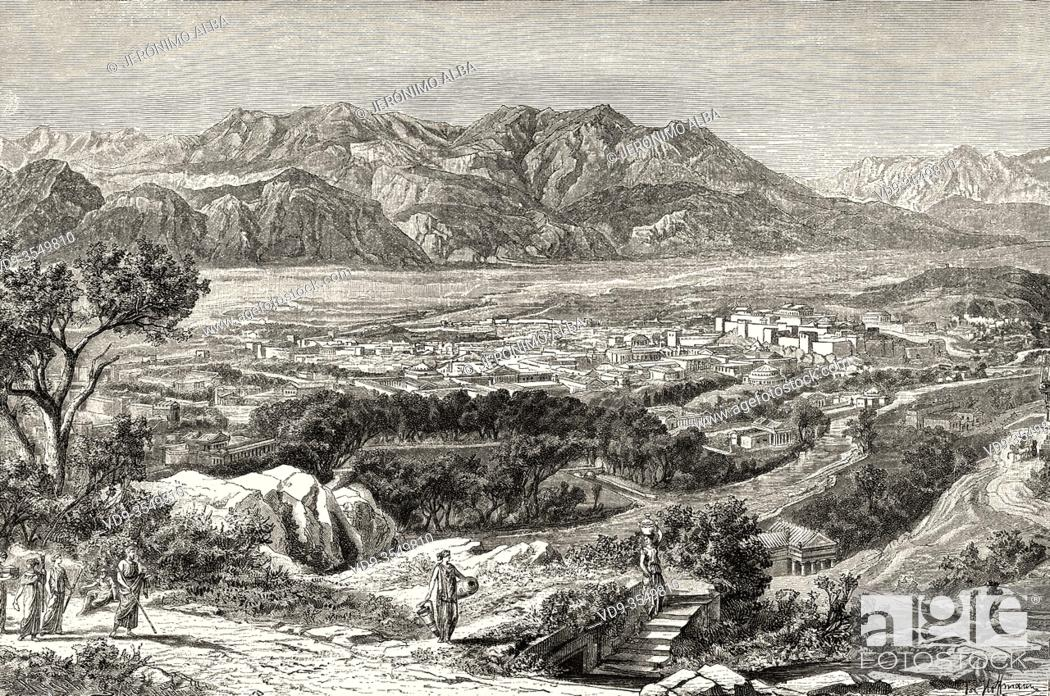 Stock Photo: Imaginary view of the city of the ancient city Sparta and Mount Taygetus seen from the village of Terapne, Ancient Greece.