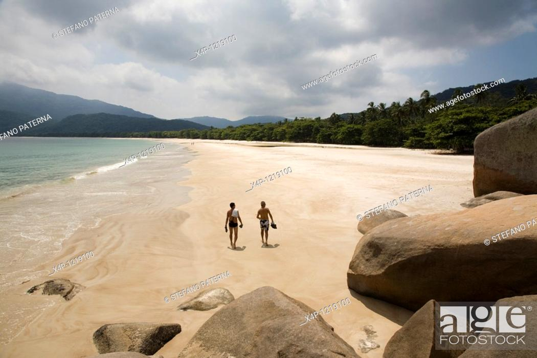Stock Photo: Lopes Mendes Beach  The island Ilha Grande with its 86 beaches is about 100 km from Rio de Janeiro away  Most of the island os covered by the atlantic.