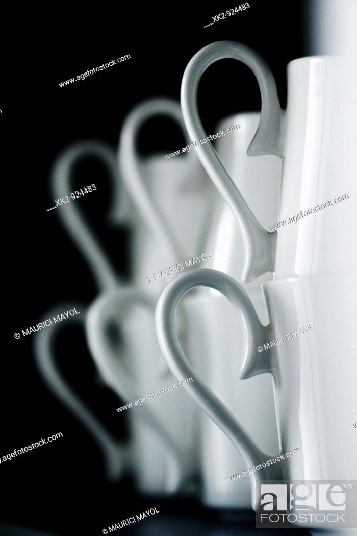 Stock Photo: Ceramic mugs, detail.