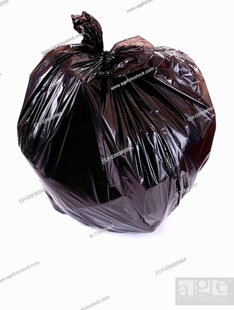 Stock Photo: Black garbage bag isolated on white.
