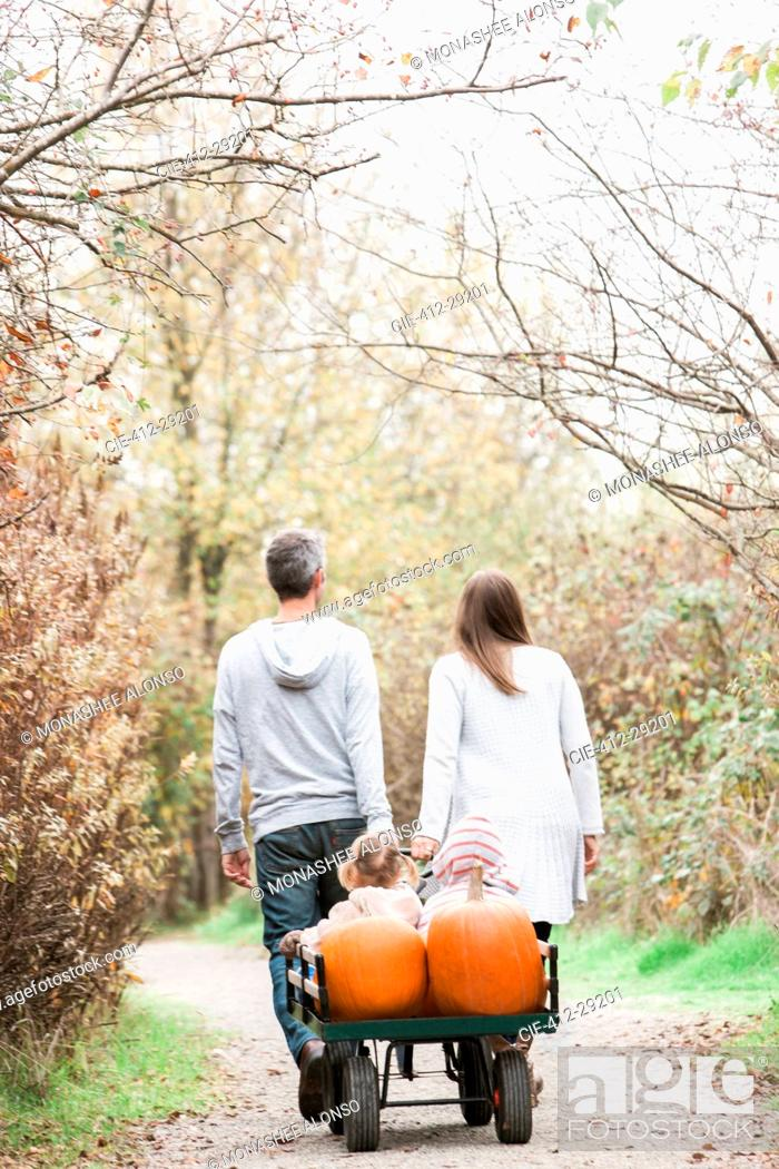 Stock Photo: Parents pulling toddler children and pumpkins on wagon in park.