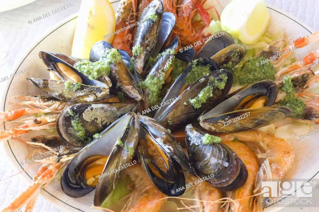 Stock Photo: Seafood on plate Mariscada Alicante Spain.