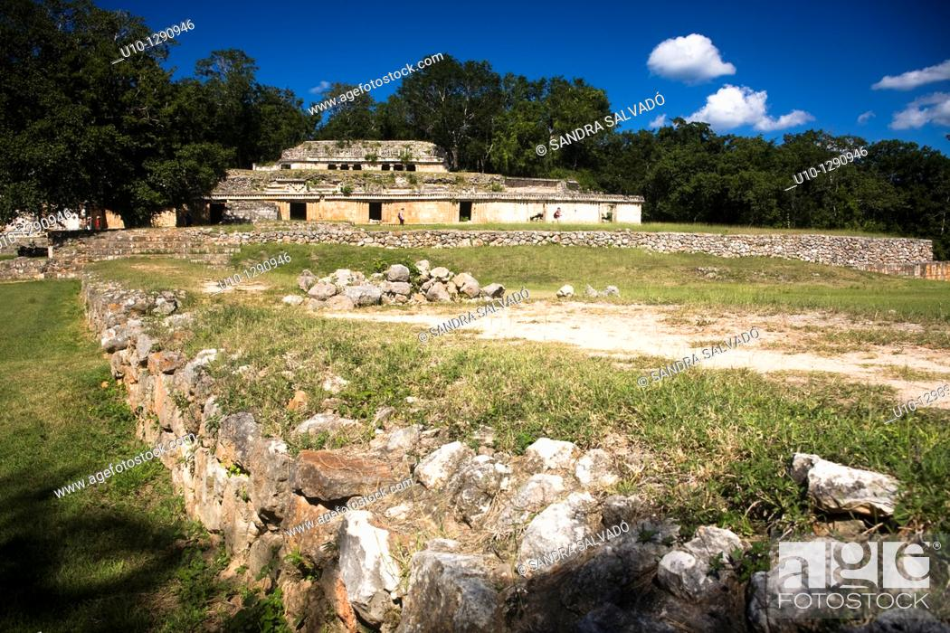 Stock Photo: Archaeological site Labná, Puuc Route, Yucatan, Mexico.