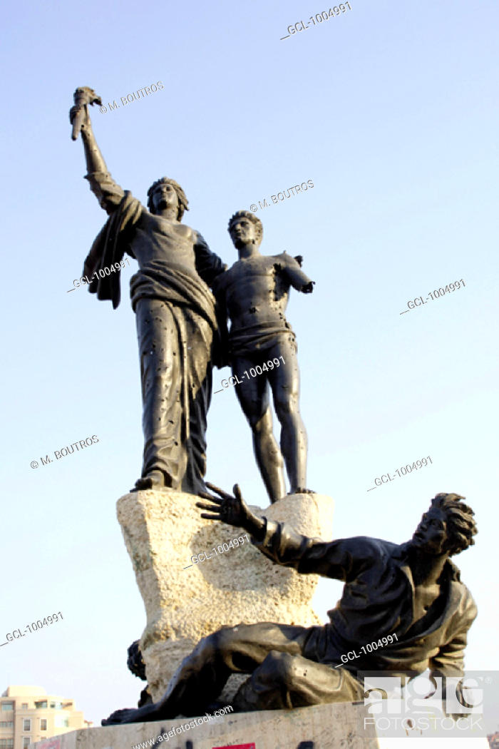 Stock Photo: Martyrs statue at the Martyrs Square in Beirut, Lebanon.