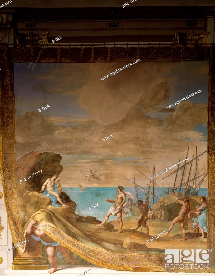 Stock Photo: Annaso, under the eyes of Love and Venus, Bacchus comforts Ariadne weeping over Tesfo's escape, by Jean Boulanger (ca 1566-1660), fresco, Bacchus Gallery.