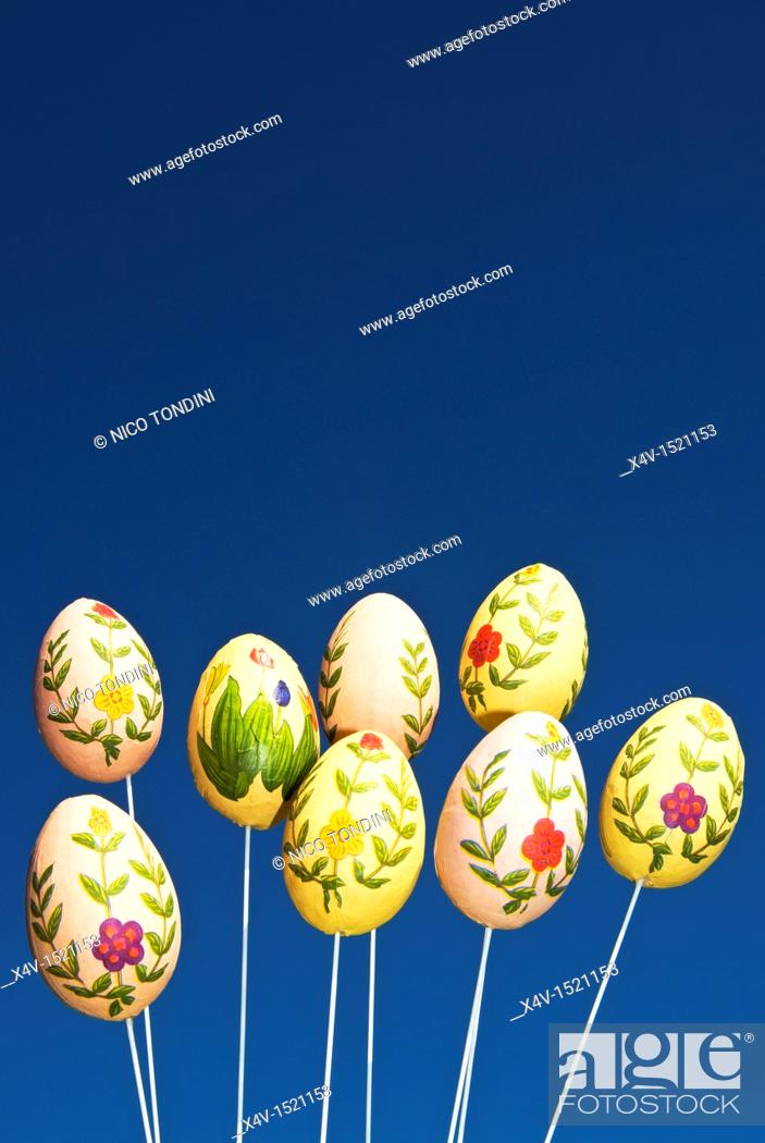 Stock Photo: Easter eggs decoration.