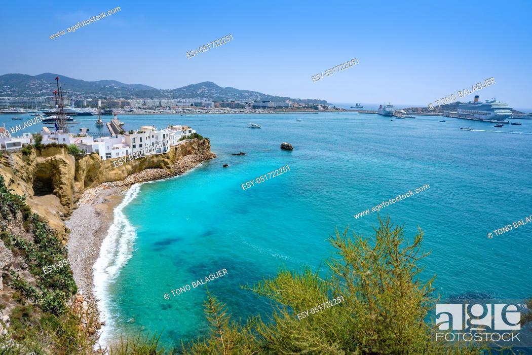 Stock Photo: Ibiza Eivissa skyline from Dalt Vila in Balearic Islands.