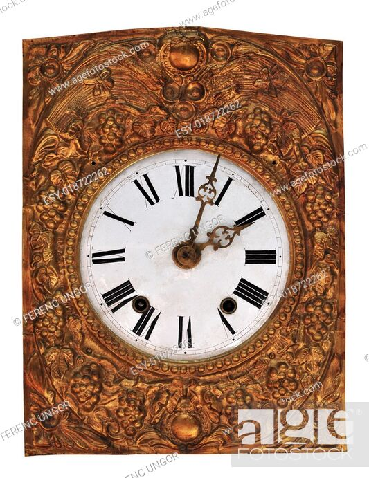 Stock Photo: Old clock with roman numbers.