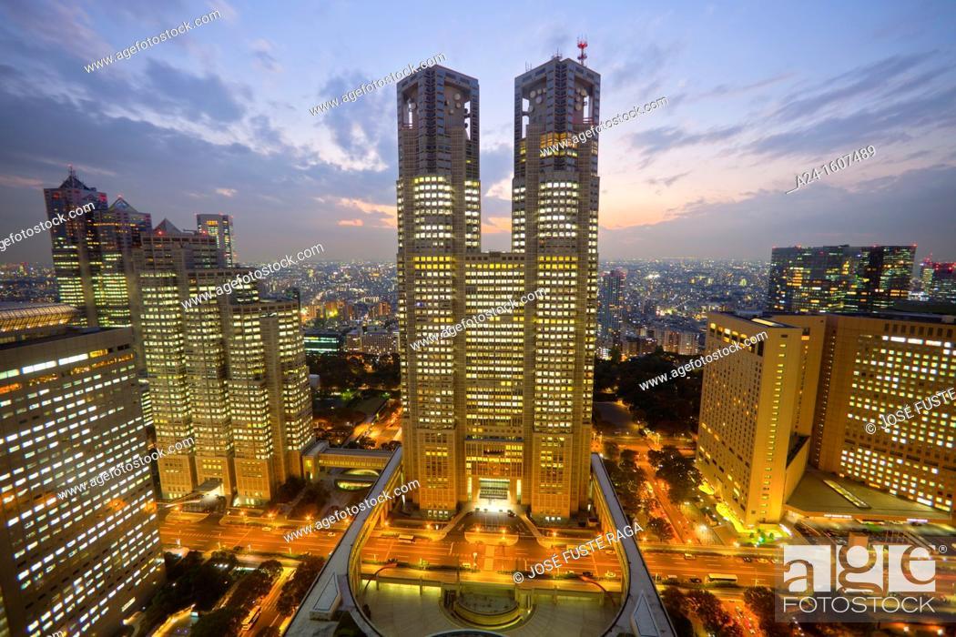 Stock Photo: Tocho building (Tokyo's City Hall Building), Shinjuku district, Tokyo, Japan.