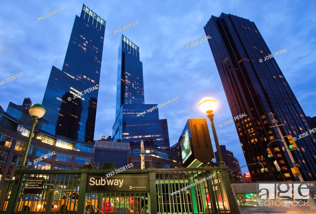 Stock Photo Subway At Right Trump International Hotel And Tower Left Time Warner Center Columbus Circle Midtown Manhattan New York City Usa
