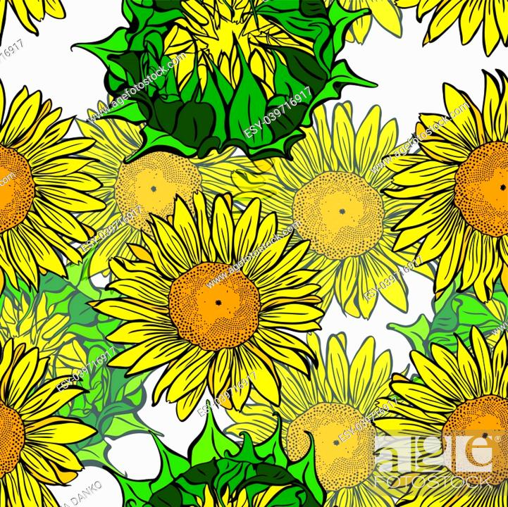 Stock Vector: blooming yellow sunflowers and unblown green flower buds of a seamless pattern isolated on white background.