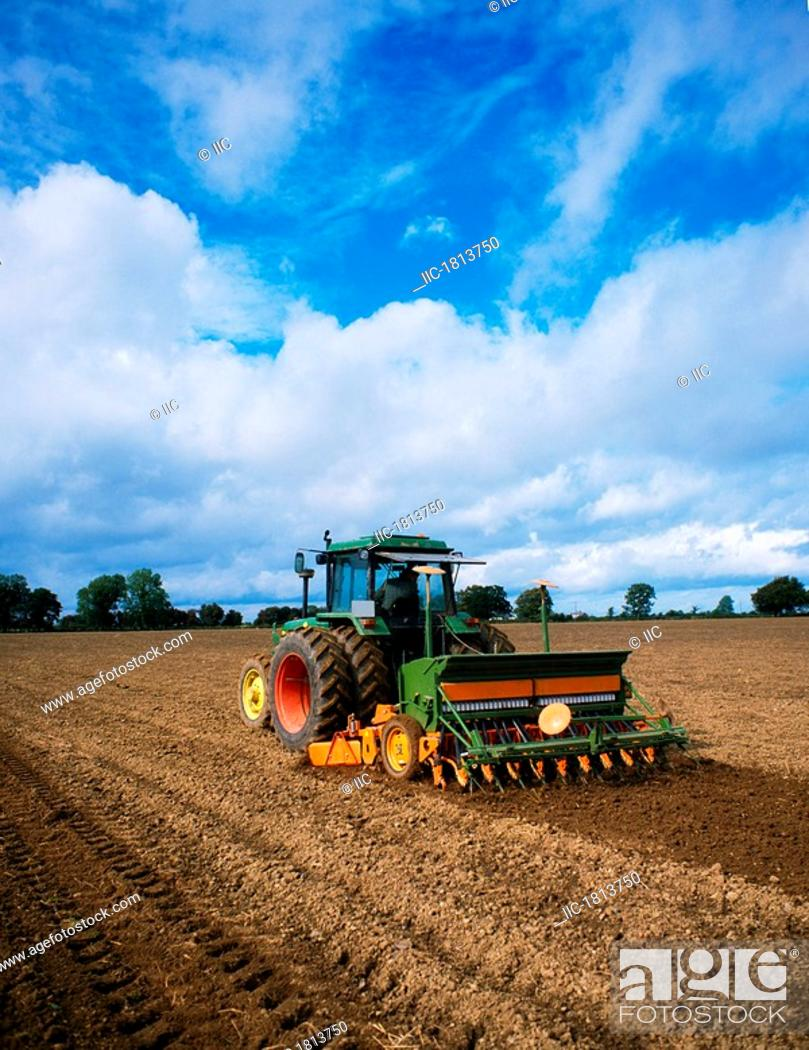 Stock Photo: Seed Drilling, Seed drill planting seeds.