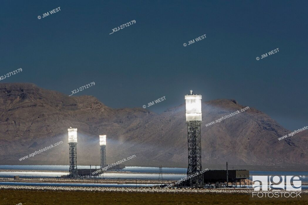 Stock Photo: San Bernardino County, California - NRG Energy's Ivanpah Solar Project, a solar thermal electric generating facility in the Mojave Desert.