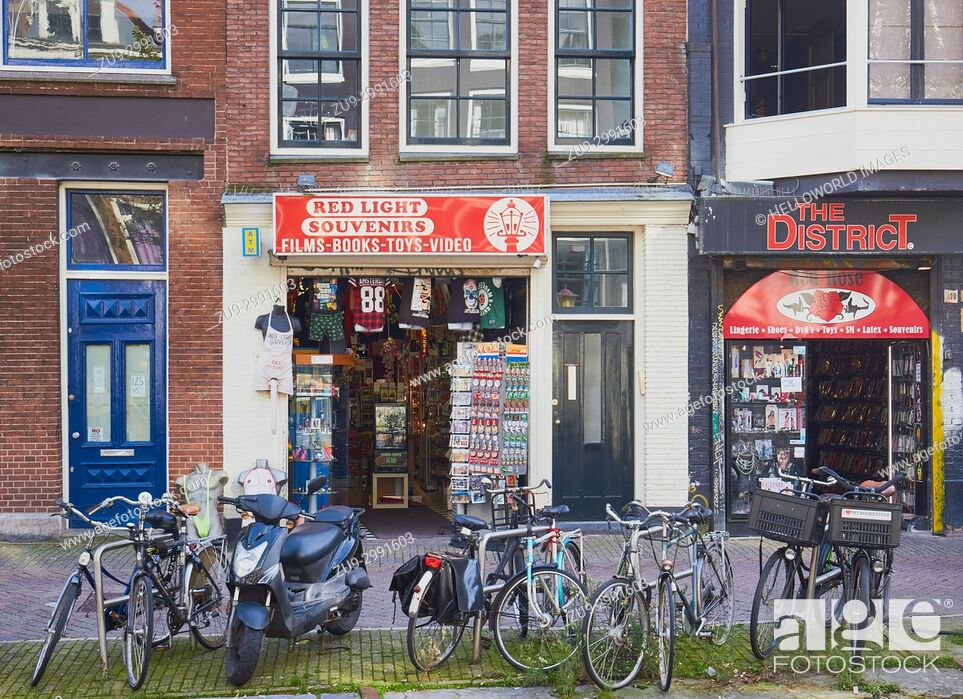 Stock Photo: Shops in the red light district, Amsterdam, Netherlands.