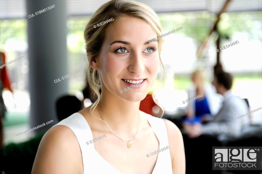 Stock Photo: Close up of womans smiling face.