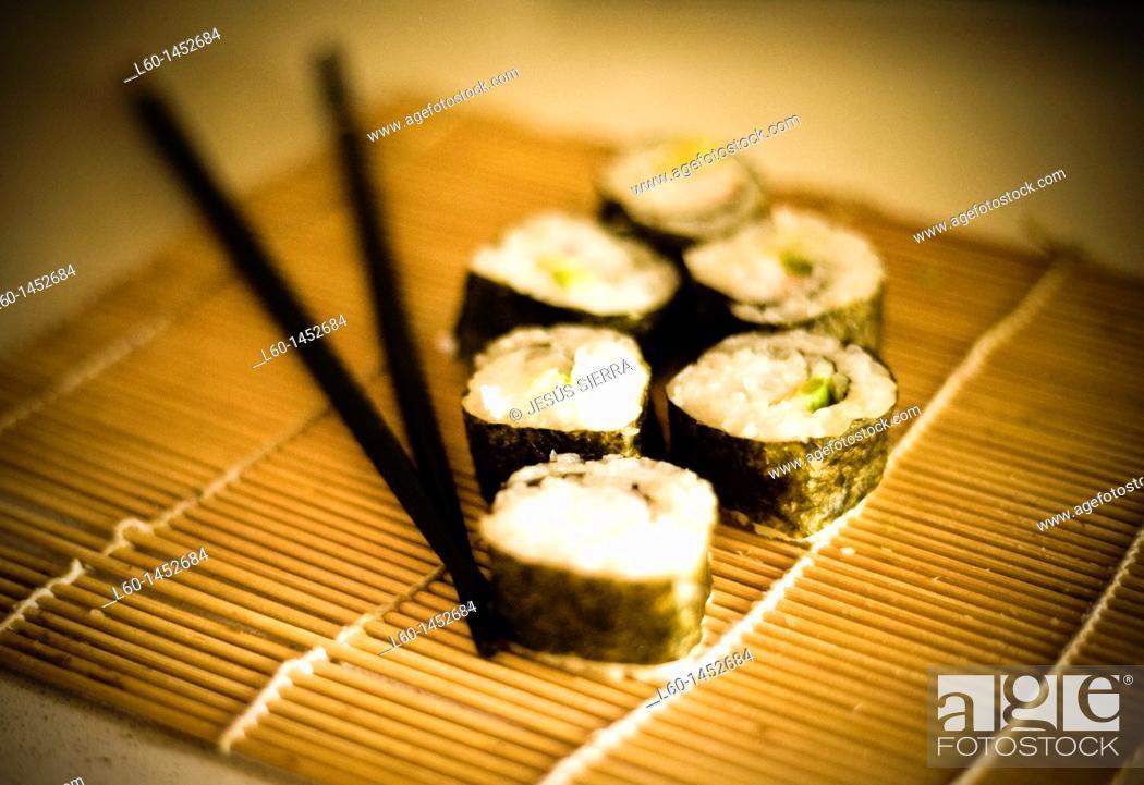 Stock Photo: Sushi Rolls, japanese food.