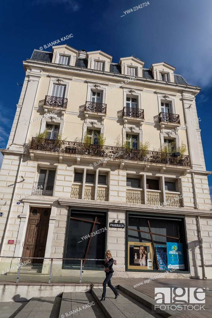 Stock Photo: House on Quai Sebastien Vauban, Perpignan, Pyrenees-Orientales, France.