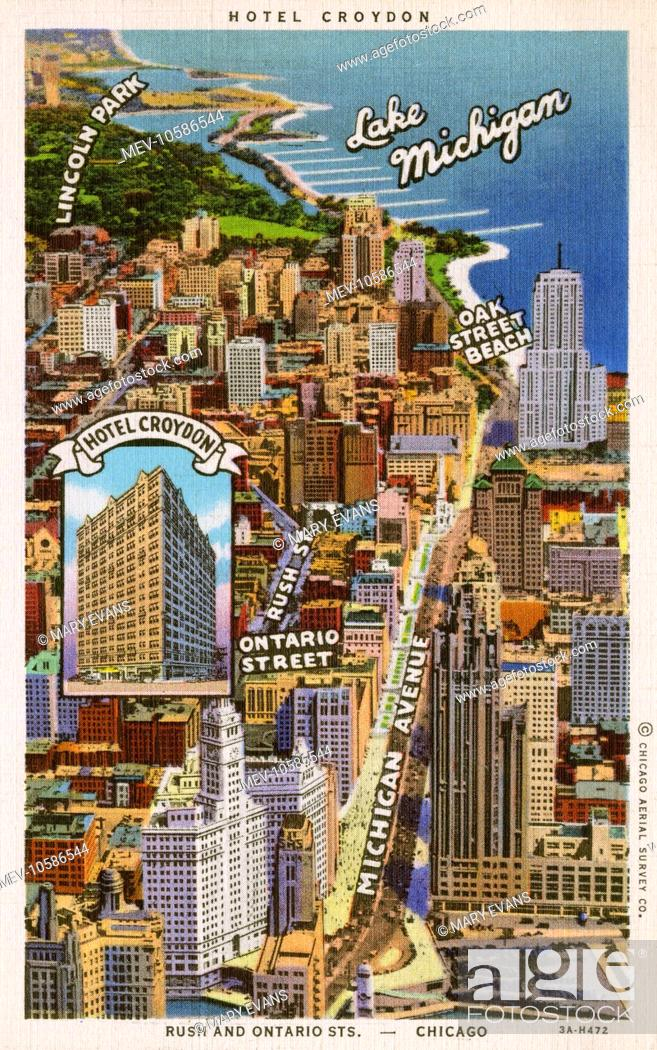 Map for the Hotel Croydon, Chicago, Illinois. On the rim of the loop Chicago Michigan Avenue Hotels Map on